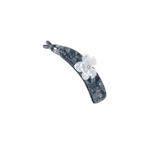 Acetate Grey Flower Banana Clip