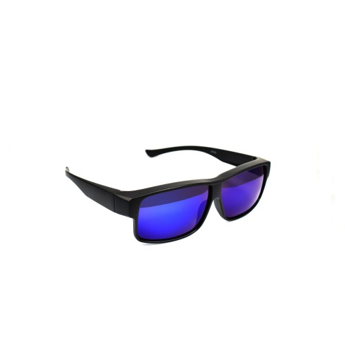 Shea Matt Black Half Frame Polarized Blue Lenses Wearover