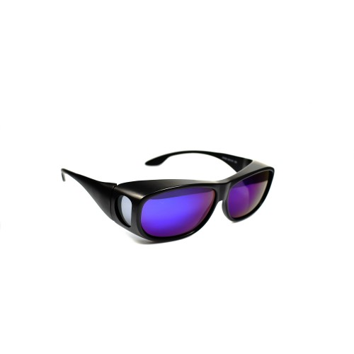 Xoan Matt Black Polarized Wearover Blue Lens