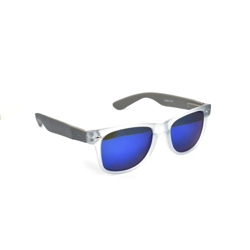 Xachary Translucent Frame with Wood Grain Temple Wayfarer Blue Lens Polarized