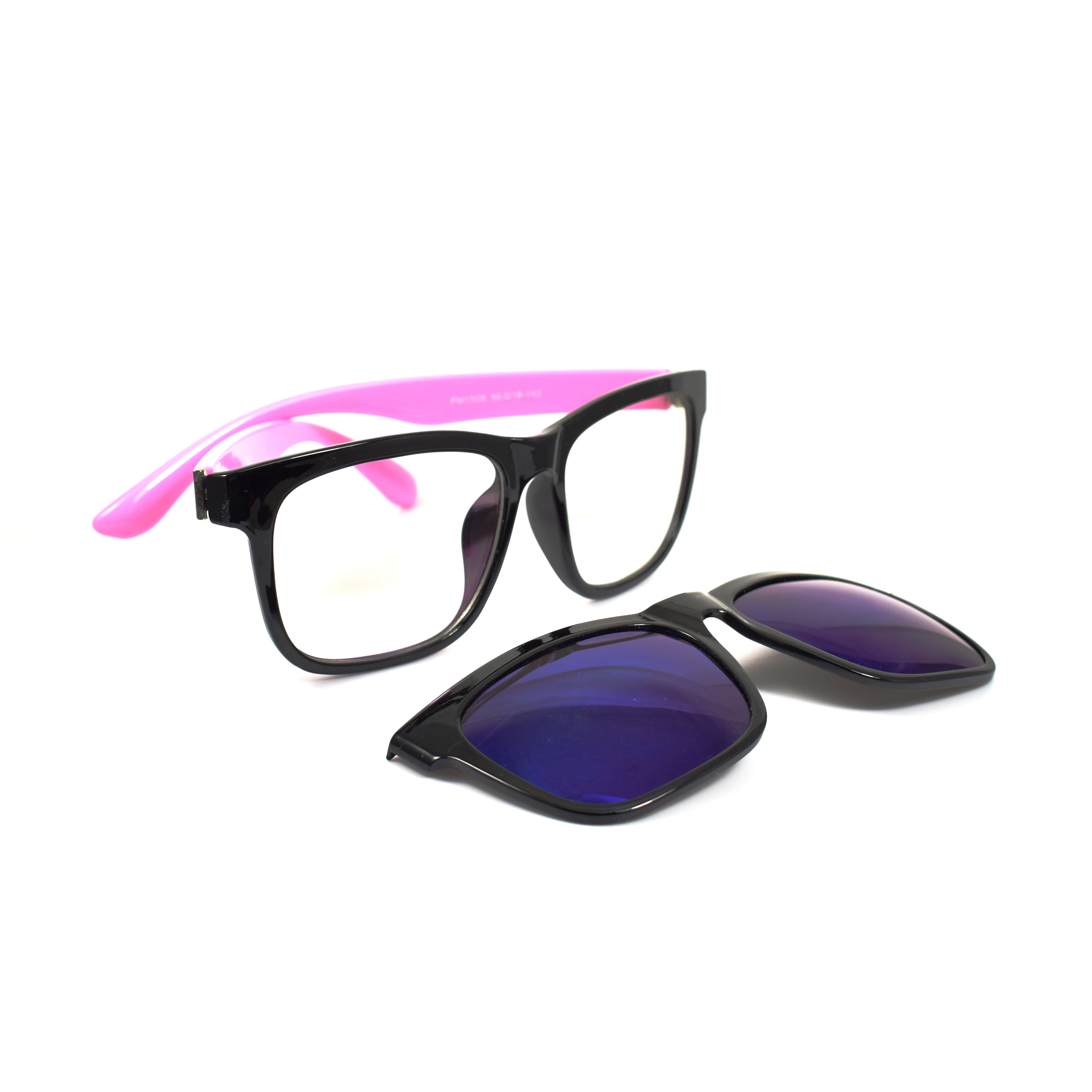 Heike Pink Temple Magnetic Clip-on Polarized Blue Lens