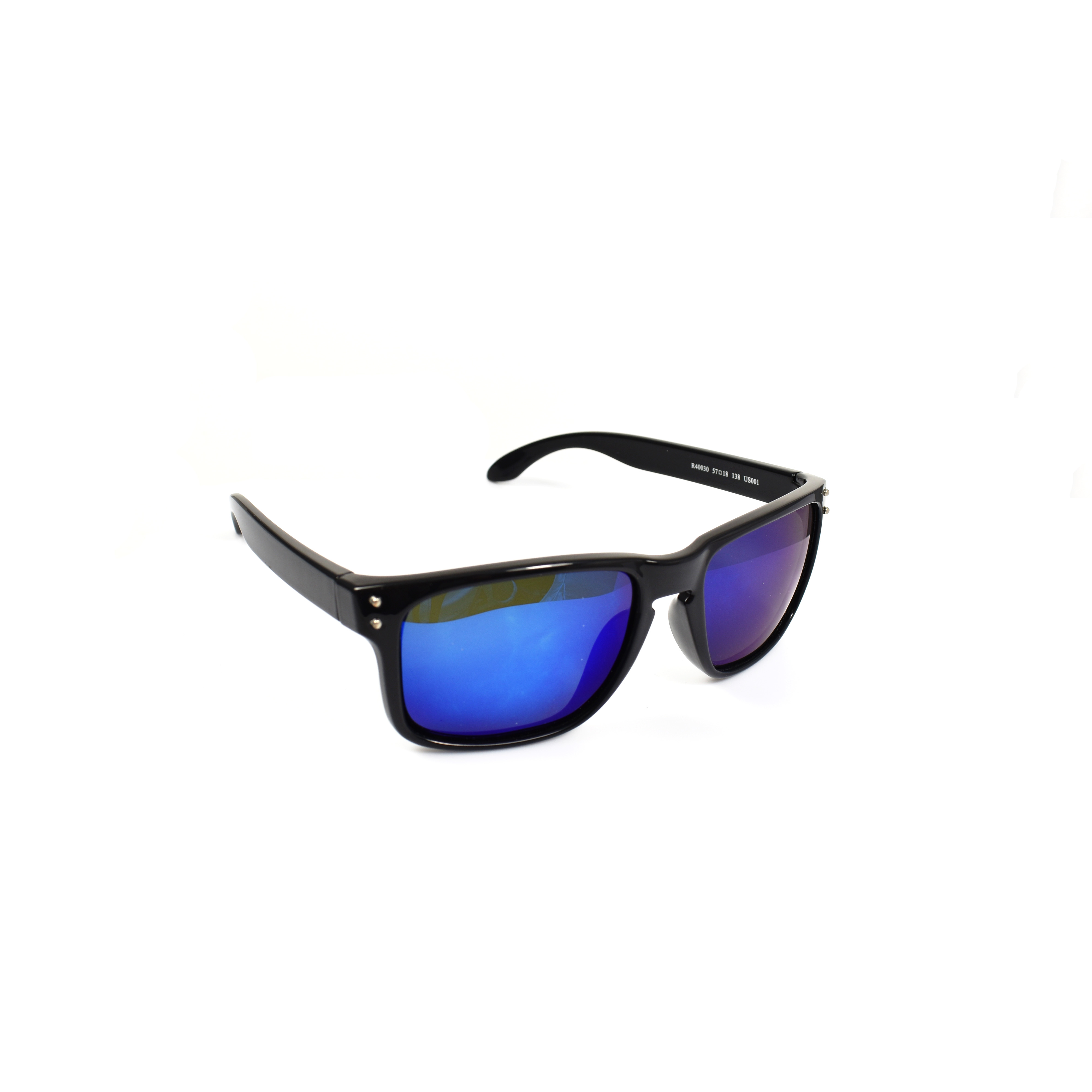 Stefan Black Wayfarer Blue Lenses Polarized